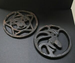"""Vintage Cast Iron Star and Moon Trivets, 5.75""""x5.75"""""""