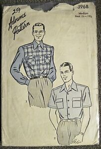 Vtg 1940's Advance Men's Casual Shirt 2 Sleeve Length Pattern #3968 Sz Medium