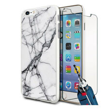 Grey White Marble Design Hard Case Cover & Glass For Various Mobiles