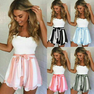 Women Striped Summer Shorts Holiday Beach Ladies High Waisted Hot Pants Size6-22