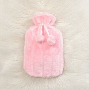Large 2L Natural Rubber Hot Water Bottle with Warm Faux Fur Fleece Cover
