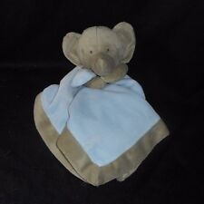 CARTER'S 2011 GRAY & BLUE ELEPHANT SECURITY BLANKET RATTLE STUFFED PLUSH TOY