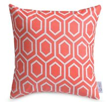 Coral Geometric Cushion Cover Peach/Pink Moroccan Lattice Pillow 100% Cotton 16""