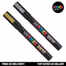 Uni Posca PC-3M Paint Art Marker Pens - Gold + Silver Set (1 of each)