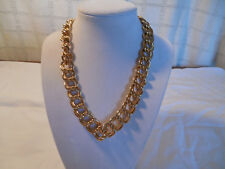 "link design necklace 18""* Gold tone large double"
