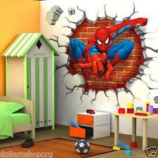 Adesivo Murales parete Cameretta bambini SPIDERMAN 3D Casa Muro Wall Sticker