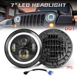 7 Inch Round LED Headlight Halo Angle Eye DRL Beam For Jeep Wrangler JK TJ LJ CJ