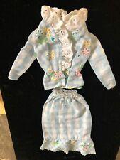 Vintage Barbie Best Buy Fashion #8621 1973 Blue White Floral Gingham & Lace top,