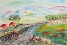 VINTAGE GOUACHE PAINTING LANDSCAPE RIVER HUTS MOUNTAIN