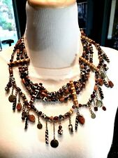 FAB CHICO'S WOOD ACRYLIC BEAD 4 STRAND TRIBAL AFTRICAN STYLE DANGLE BIB NECKLACE