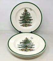 "VTG Spode Christmas Tree Porcelain Set of 4 10 3/4"" Dinner Plates England S3324"