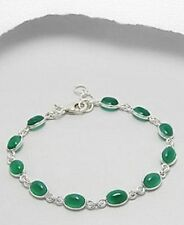 925 Sterling Silver & Green Onyx Cabachon Bracelet 7 to 8 inches w box