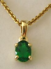 GENUINE 9K 9ct SOLID YELLOW GOLD MAY BIRTHSTONE EMERALD Pendant