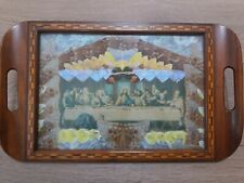 Last Supper Picture Real Butterfly Surround In Solid Wooden Glass Front Tray