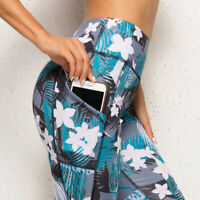Womens 3/4 Capri Yoga Pants Gym Fitness Sports Cropped Leggings With Pocket S-XL