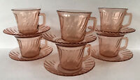 Vintage Fortecrisa Pink Swirl Depression Style Glass Cup & Saucer 6 Sets