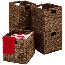 Set of 5 Multipurpose Collapsible Baskets,Hyacinth Storage Organizer w- Espresso