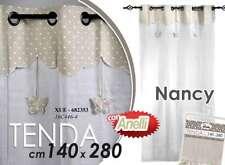 TENDA TESSUTO ANELLI 140*280CM BEIGE ECRU SHABBY CHIC NANCY FARFALLE TSC 682353