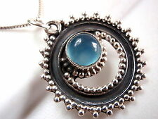 Blue Chalcedony Tribal Style Necklace 925 Sterling Silver Corona Sun Jewelry