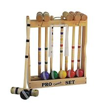 "6-Player Croquet Set with 28"" Handles - Amish Made in USA"