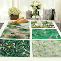 Leaf Print Insulation Cotton Linen Placemat Dining Coffee Table Mat Home Kitchen