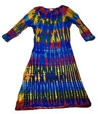 Ethnic Hippie Tie Dye Rainbow Stretchy Cotton Knit Dress Size S