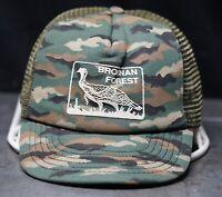 Vintage Brosnan Forest Camo Green Mesh Trucker Hat Cap Snapback