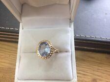 9ct Gold Blue Topaz ring size K