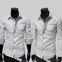 Mens Solid Luxury Formal Casual Business Shirts Long Sleeve Slim Fit Dress Shirt