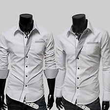 Men Luxury Slim Fit Casual Shirts Long Sleeve Formal Business Dress Shirt Tops P