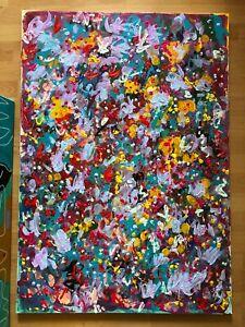 Monet Art Original Abstract Artwork Floral Painting Huge Colourfull Wall Decor