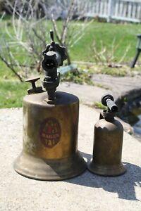 Pair of Vintage Brass Gas Blow Torch Hades Unmarked