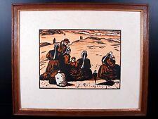René Tollier originale gravure bois sépia Pique-nique Breton cadre cca 1920