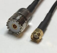 UHF Female to RP-SMA Male Adapter Connector RG58 Coaxial RF Pigtail Cable 40cm