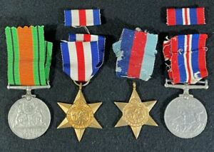 WW2 British 1939-45 Star, France & Germany Star, Defence & Victory Medals (4)