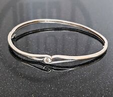 925 Sterling Silver Hinged Bangle Bracelet Cubic Zirconia 8.41g Stamped DQCZ