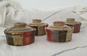 4 x Mid Century Modern Brown Pottery Ramekins Soup Bowls w Lids Japandi Rustic