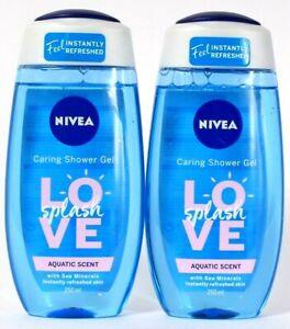 2 Bottles Nivea 8.45 Oz Love Splash Aquatic Scent Sea Minerals Caring Shower Gel