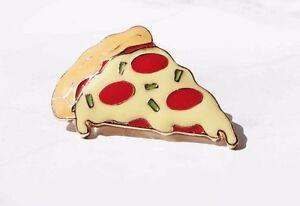Pizza enamel food pin badge brooch. Vintage/boho/hippy/antique/90s jewellery