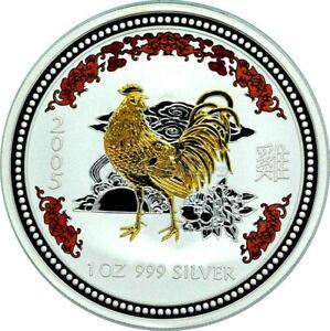 1 OZ Silber Australien 1 Dollar Lunar I Hahn 2005 Silver gilded colored