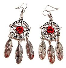 PENTAGRAM DREAM CATCHER EARRINGS red rose feathers pendant pentacle gothic 6F