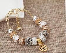 Rhinestone Crystal European Charm Doralen Beads Bracelet Lady Bangle jewelry New