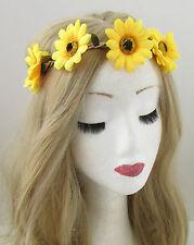 Yellow Sunflower Flower Headband Hair Crown Festival Garland Elastic Boho 865