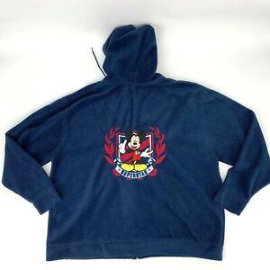 Disney Fleece Sweater Womens 3XL Mickey Super Star Full Zip Blue Hooded Jacket