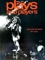 Plays and Players Magazine March 1977. Mick Jagger cover & Rock Artists Article