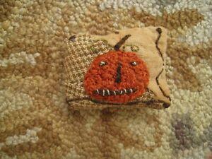 Primitive tiny Sampler Pillow~The Pumpkin ~Early Brown Quilt~Folk Art Halloween~