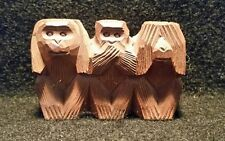 Vintage Handcarved Wood Monkies Monkeys Hear No Evil, Speak No Evil, See No Evil