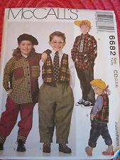 McCALL 6682 CHILDREN'S GIRLS' BOYS' VEST SHIRT PANTS TIE PATTERN 4-5-6 UNCUT