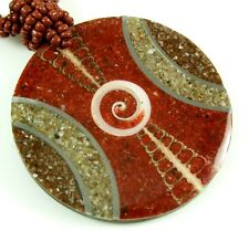 SEA SHELLS,  RED CORAL & SHIVA EYE necklace: CA296