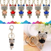 Crystal Rhinestone Cat Keychain Keyring Key Ring Chain Bag Charm  Gifts